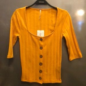 Free People yellow button down crop sweater XS